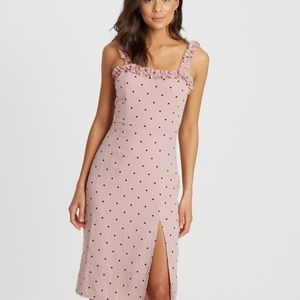CALLI 'Jesper' Pink Polka Dot Midi Dress Size 16